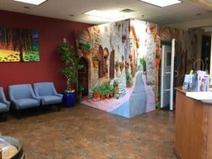 Roseville Diagnostic Hearing Center hearing booth and waiting area